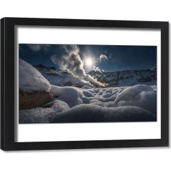 Framed Print. Winter landscape of Mount Io volcano