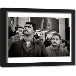 Framed Print. Workers listen to speaker at a rally in Eccles, Manchester