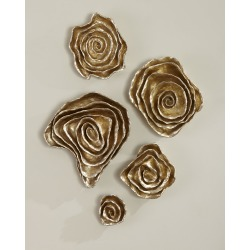 Freeform Floral Wall Plaques - Champagne Finish, Set of 5