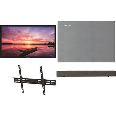 """Furrion 49 SHD TILT2 4-Piece Outdoor TV Package With 49"""" TV, 49"""" TV Cover, TV Mount And Soundbar With Built-In Subwoofer"""