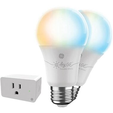 GE Lighting 93128974 2-Pack LED A19 Tunable White Light Smart Bulbs With C By GE White Wi-Fi Enabled Smart Plug