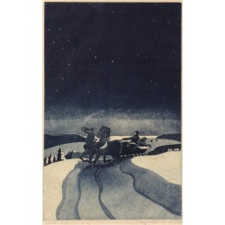 """George Jo Mess, """"Winter Night,"""" George Mess, sleigh ride, horses, color aquatint"""