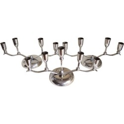 German Set Of Three Chrome Plated Metal Multi-branch Dining Table Candle Holders
