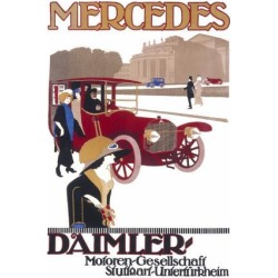 Giclee Painting: Advertisement for Mercedes Daimler in Stuttgart, 24x1