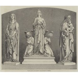 Giclee Painting: Faith, Hope, and Charity, Sculptured by J Thomas, 24x