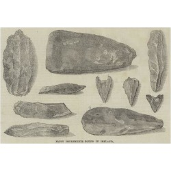 Giclee Painting: Flint Implements Found in Ireland, 24x16in.