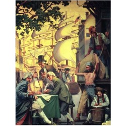 Giclee Painting: Trade and Commerce in Manhattan, 1790, 24x18in.