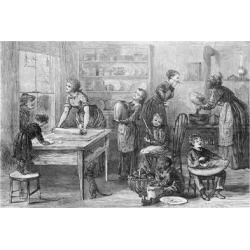 Giclee Painting: Women and Children Working in Kitchen, 24x16in.