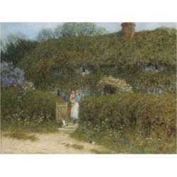 Giclee Print: A Cottage at Freshwater, Isle of Wight (Watercolour and Bodycolour Heightened with Scratching Out) by Helen Allingham: 24x18in