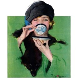 "Giclee Print: ""Elegant Lady Drinking Cup of Tea,""February 20, 1926 by Penrhyn Stanlaws: 24x18in"