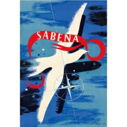 Giclee Print: Peace Dove - Sabena, Belgian World Airlines by Gaston Bogaert: 26x20in