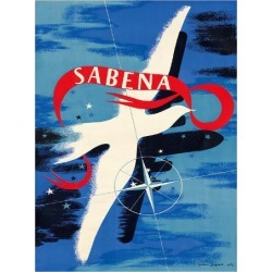 Giclee Print: Peace Dove - Sabena, Belgian World Airlines by Gaston Bogaert: 14x11in