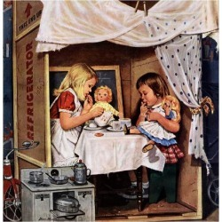 "Giclee Print: ""Playing House"", January 31, 1953 by Stevan Dohanos: 16x16in"