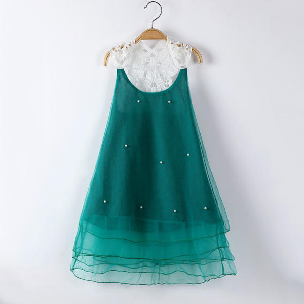 Girls Children Pearls Lace Stitching Princess Dress