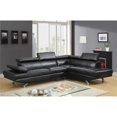 Global Furniture GSEC9782R-BLK Milan Right Facing Chaise