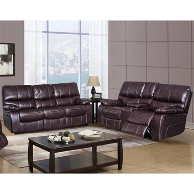 Global Furniture SERRANO Serrano Espresso Reclining Sofa With Serrano Reclining Loveseat With Console