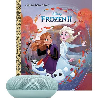Google GA00275-USVP Google Home Mini Smart Speaker With Disney Frozen 2 Little Golden Book Value Pack