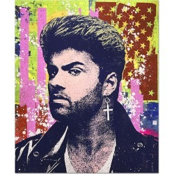 "Greg Gossel, Greg Gossel ""George Michael 2"" Pop Art Musician Music Collage Purple Yellow Pink, 2019"
