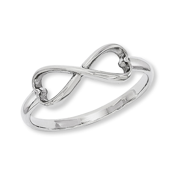 Heart-Shaped Infinity Ring in Sterling Silver