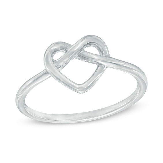 Heart-Shaped Knot Ring in 10K White Gold