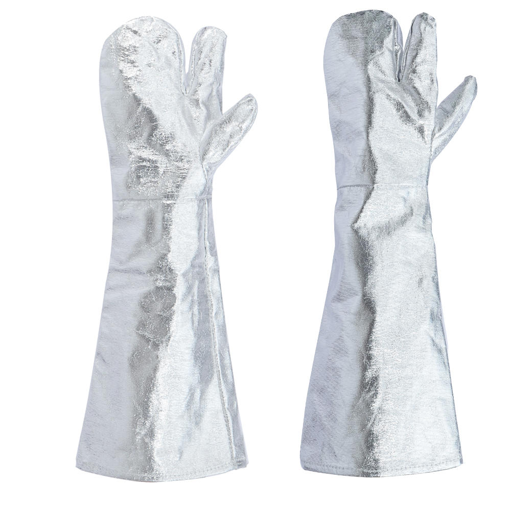 Heat Insulation Work Gloves Aluminum Foil Fabric High Temperature Working Thermal Radiation Glove Fire Protection 1000℃