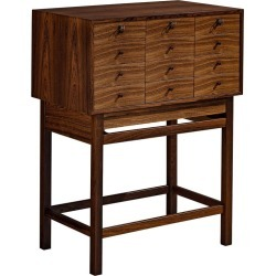 High-legged Chest Of Drawers With Pull-out Leaf In Rosewood