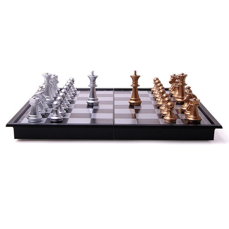 Hobbies and Toys Square Magnetic Travel Folding Chess Set in Black. Size: One Size