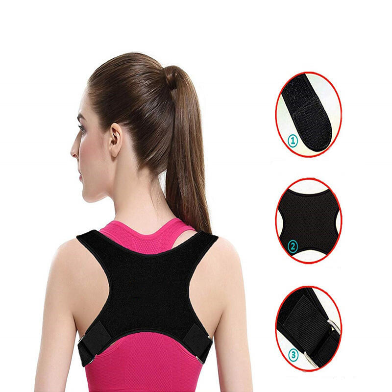 Home Decor Adjustable Sitting Back Posture Orthosis in Black. Size: One Size