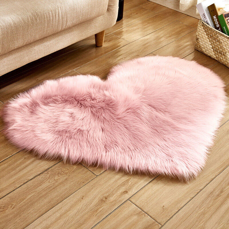 Home Decor Love Heart Soft Faux Plush Carpet Rug in White,Light Yellow,LightPink. Size: One Size