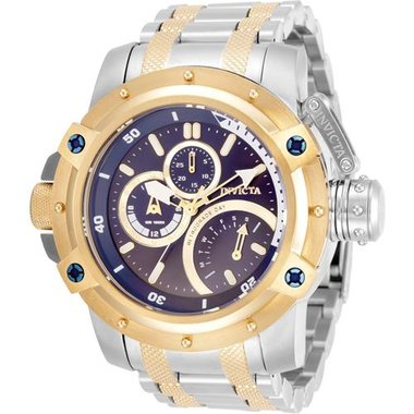 Invicta 30382 Men Coalition Forces Collection Steal And Gold Band Blue And Gold Dial 52.5 mm Stainless Steel Watch