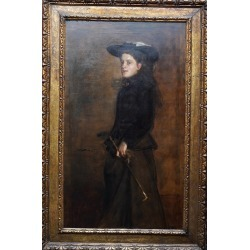 James Guthrie, Portrait of Mary Martin in Riding Habit -Scottish 19thC Glasgow Boy oil painting, 1900