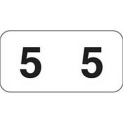 "Jeter Compatible Numeric ""5"" Labels, Polylaminated Stock, 3/4"" X 1-1/2"" Individual Numbers - Roll of 500"