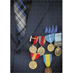 Jigsaw Puzzle. Close-up of medals and awards on the uniform of a retired U.S. Air Force veteran