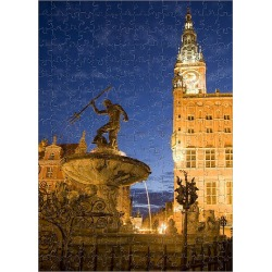 Jigsaw Puzzle. Europe, Poland, Gdansk. Neptune statue in fountain