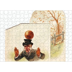 Jigsaw Puzzle. Man hit by football on a greetings card