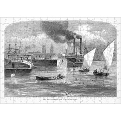 Jigsaw Puzzle. Mississippi River at New Orleans, Louisiana, United States, American Victorian Engraving, 1872