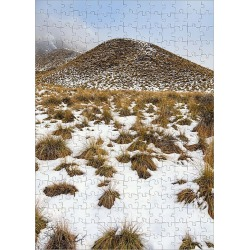 Jigsaw Puzzle. Snow, tussocks and hundreds of more tussocks on rear hill