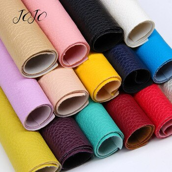 JOJO BOWS 22*30cm 1pc Faux Synthetic Leather Fabric For Craft Solid Soft Litchi Sheet For DIY Hair Bow Home Decor Apparel Sewing