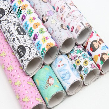 JOJO BOWS 22*30cm 1pc Faux Synthetic Leather Fabric Unicorn Girl Printed Sheet For Needlework Home Textile DIY Hair Bows Crafts