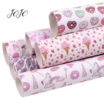 JOJO BOWS 22*30cm 1pc Faux Synthetic Leather Sheet Valentine's Day Flower Heart Unicorn Printed Fabric DIY Handmade Hair Bows