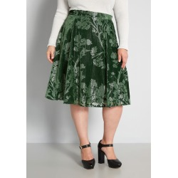 Just This Sway Velvet Cotton A-Line Skirt in L - Knee Vintage Inspired by ModCloth