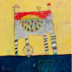 """Karen Hoepting, """"Harriet,"""" a Whimsical Acrylic on Paper Signed and Dated by Karen Hoepting, 2000"""