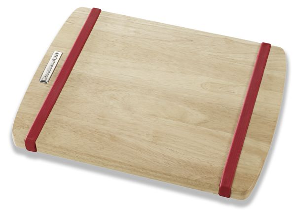 KitchenAid® 11 inch X 14 inch Wood Cutting Board with Red Non-slip Bands