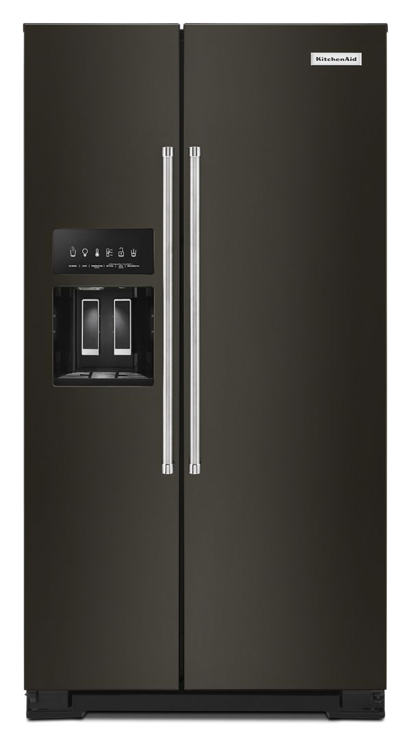 KitchenAid® 19.9 cu ft. Counter-Depth Side-by-Side Refrigerator with Exterior Ice and Water and PrintShield™ finish