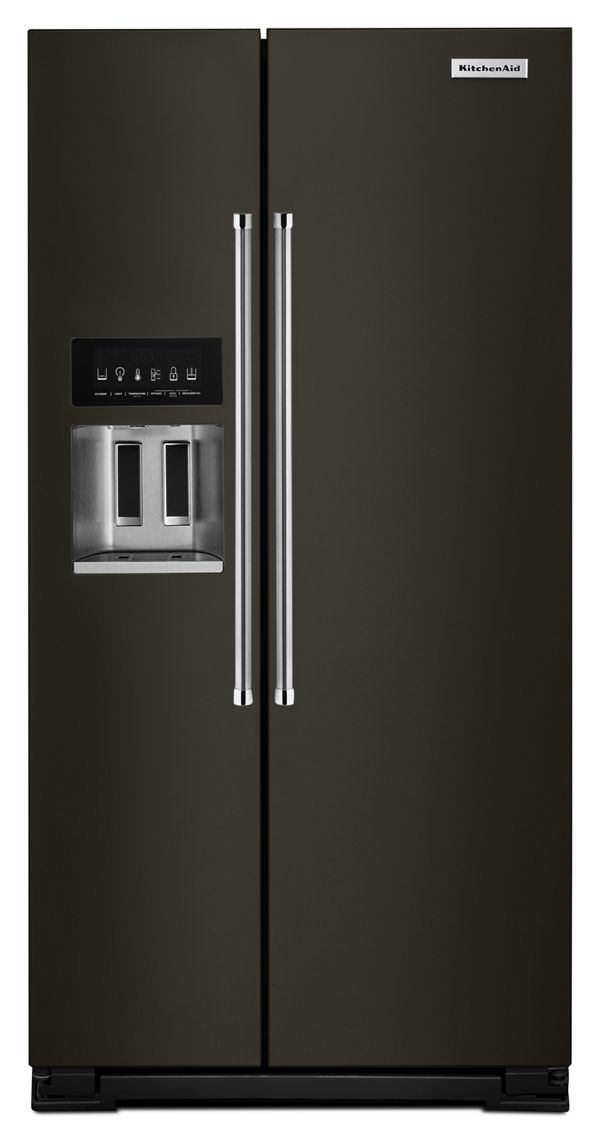 KitchenAid® 24.8 cu ft. Side-by-Side Refrigerator with Exterior Ice and Water and PrintShield™ finish