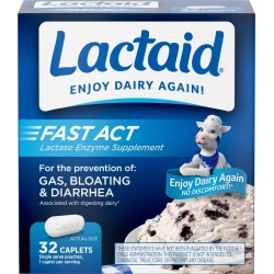 Lactaid Fast Act Lactose Intolerance Caplets - 32 Travel Packs of 1 ct.