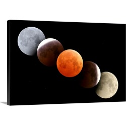 Large Solid-Faced Canvas Print Wall Art Print 30 x 20 entitled Digital composite of total lunar eclipse