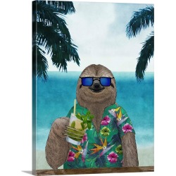 Large Solid-Faced Canvas Print Wall Art Print 30 x 40 entitled Sloth on Summer Holidays