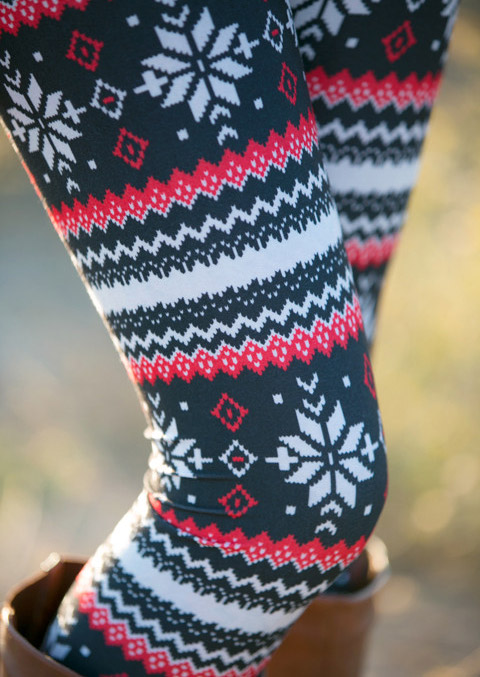 Leggings Christmas Snowflake Printed Stretchy Leggings in As Picture. Size: One Size