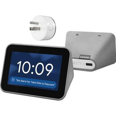 Lenovo ZA4R0002US Smart Clock With Google Assistant With Mini Wi-Fi Smart Plug